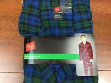 Men HANES Flannel blue gren plaid button waist Pajama set S M L xl 2x cotton