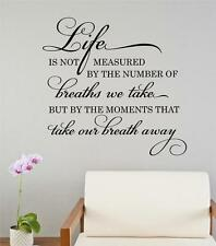 Life Is Not Measured By Breaths Vinyl Decal Wall Decor Sticker Words Lettering