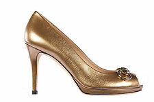 GUCCI WOMEN'S LEATHER OPEN TOE PUMPS COURT SHOES HEEL NEW GOLD  876