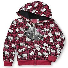 Girl's Embellished Pink & Black Zip-up Hello Kitty & Bows Hoodie Size 5T