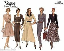 Vogue 1190 Dress in 2 Lengths w/Straight or Flared Skirt 5 Views Sewing Pattern