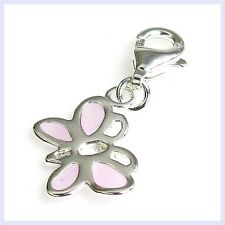STR Silver Purple Enamel Butterfly Dangle Clip Bead f/ European Charm Bracelet
