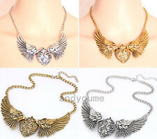 Palace Retro Women Jewelry Heart Crystal Angel Wings Statement Chain Necklace