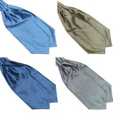 British Style Polyester Silk Mens Solid Color Ties Ascot Cravat Necktie Scarf