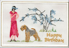 Lakeland Terrier Birthday Card Embroidered by Dogmania  - FREE PERSONALISATION