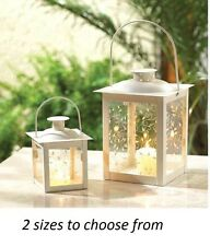 square chic IVORY shabby Garden outdoor patio votive Candle holder Lantern