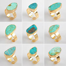 Hot Adjustable 100% Genuine Turquoise Ring Electroformed Golden GG0125