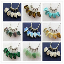 8Pcs Unique Carved Mixed Gemstone Leaf Pendant bead N-02
