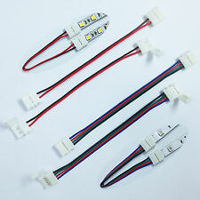 2clip+wire 2P 4P 8mm 10mm led connector - 3528 5050 5630 single color/ RGB strip