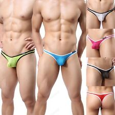 Mens Striped Gauze Sheer Underwear Sexy Capsular Bag Thongs Underpant  M L XL 38