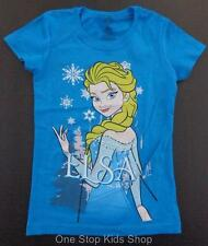 ELSA Girls 4 5 6 6X 7 8 10 12 Short Sleeve Tee SHIRT Top FROZEN Disney