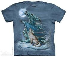 THE MOUNTAIN DRAGON WOLF HOWLING MOON PACK MYTHICAL FEROCIOUS T TEE SHIRT S-5XL