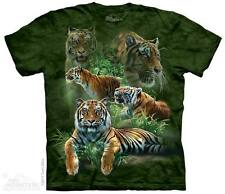 THE MOUNTAIN JUNGLE TIGERS COLLAGE ANIMAL WILD CAT EXOTIC ZOO T TEE SHIRT S-5XL