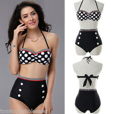 FASHION CUTEST RETRO SWIMSUIT SWIMWEAR VINTAGE PIN UP HIGH WAIST BIKINI SET HOT