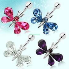 Stainless Steel Belly Button Rhinestone Butterfly Navel Ring Body Jewellery