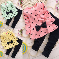 2Pcs Kids Baby Girls Clothing Long Sleeve Bowknot Dress + Pants Set Clothes 1-5Y