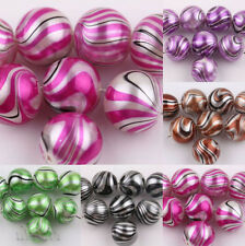 Lots 10/50Pcs LampWork Water Ripple Crystal Glass Round Loose Spacer Beads 12mm