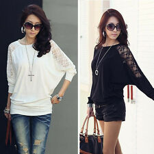 1PC Womens Long Sleeve Casual Dolman Lace Loose T-Shirt Batwing Tops Stylish