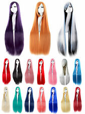 100cm Women Girl Anime Costume Long Straight Cosplay Full Wig Party  Hair Dress