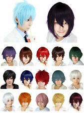 Short Cosplay Full Wig Men Boy Synthetic Fiber Straight Anime Costume Hair Dress