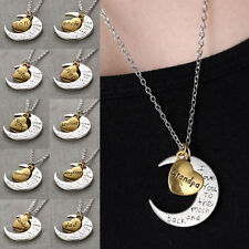 Hotsale I LOVE YOU TO THE MOON AND BACK Pendant Necklace Mother Father Cute Gift