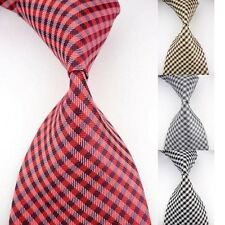 Red Black New Classic Checks Striped JACQUARD WOVEN 100% Silk Men's Tie Necktie