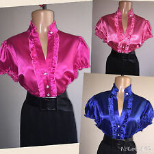 SHINY New LIQUID SATIN Ruffle BLOUSE Top vtg Shirt PINK * BLUE * CORAL 1X 2X 3X