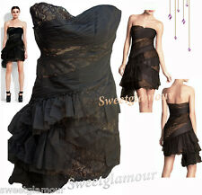 $498 BCBG Maxazria Runway Asymmetric Tulle Lace Bustier Black Nude Dress