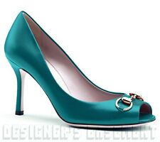 GUCCI teal Turquoise leather JOLENE gold Horsebit peep-toe shoes NIB Authentic