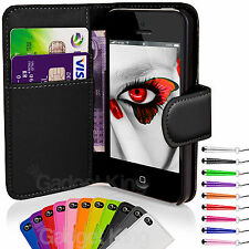 Flip Wallet Leather Case Cover For Apple iPhone 4 4S + Screen Protector