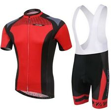 New Red Cycling Bike Short Sleeve Clothing Bicycle Jersey Bib Shorts S-4XL