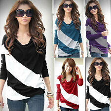 New Women Lady Heaps Collar Batwing Long Sleeve Striped Casual Tops T-shirt