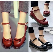 Fashion Eyelet Flats Bowknot Platforms Ankle Strap Stitched Round Toe Shoes