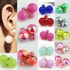 Girl Sweet Floral Print Candy Double Way Simulated Pearl Bead Stud Ear Earing