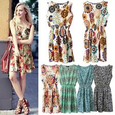 Summer Womens Sexy Chiffon Sleeveless Sundress Beach Floral Tank Mini Dress XXL