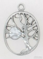 Pewter-toned & moonstone-colored enamel tree & moon fob, various watch chains