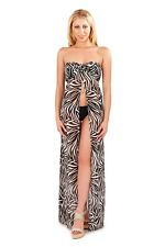 Womens Maxi Dress Zebra Print Bandeau Summer Chiffon Cover Up Ladies Size 6-16