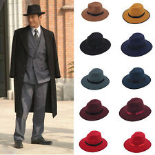 Women Men Jazz Hard Felt Bowknot Fedora Panama Bowler Wide Brim Hat Gangster Cap
