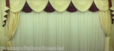 "SWAG AND TAILS + SHOW CURTAINS, FITS WINDOWS 131"" to 160"" (269-330cm)  WIDTHS,"