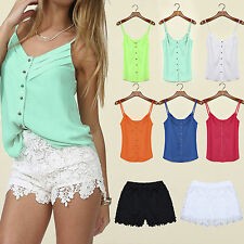 Womens Casual Chiffon Vest Tops Spaghetti Strap Shirt Blouse Lace Shorts Pants