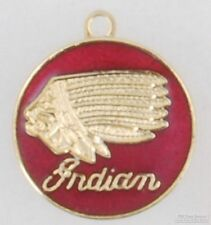 Gold-plated round Indian motorcycle company fob, with watch chain options