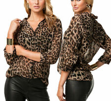 New Women Casual Leopard Print Chiffon Top Shirt Button Down Collar Loose Blouse