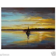 Sailboat Sunset Oil Painting Ocean Sunrise Impressionist Seascape Painting