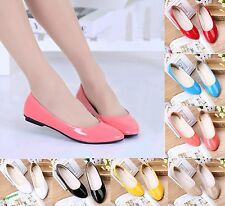 Hot Womens Lady Flat Ballet Casual Patent Leather Shoes Candy Colors Pumps Shoes