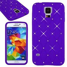 Novel Soft Bling Crystal Diamond Silicone Case Cover Purple For Various Phones