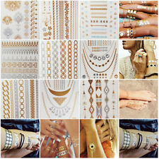Unique Chic 1 Sheet Temporary Pretty Metallic Tattoo Gold Silver Flash Inspired