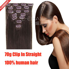 Discount! 70g Straight Clips In 100% Remy Real Human Hair Extensions hairpiece