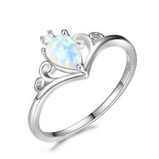 Royal Elegant Queen Crown White Fire Opal 925 Sterling Silver Plated Ring 7 8 9