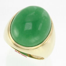 20MM BY 25MM CABOCHON GREEN JADE SOLITAIRE MEN'S RING SET 14K SOLID YELLOW GOLD