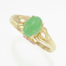 TPJ 14k Yellow Gold Setting a 5 X 7mm Cabochon Oval Green Solitaire Jade Ring